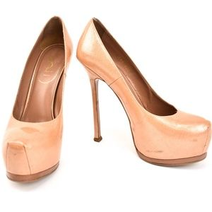 "YSL ""Tribtoo"": Beige, Leather Platform Heels/Pumps"